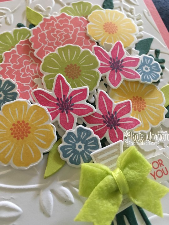 Beautiful Posy card using Beautiful Bouquet Bundle by Kate Morgan, Independent Stampin' Up! Demostrator, Australia 3D closeup