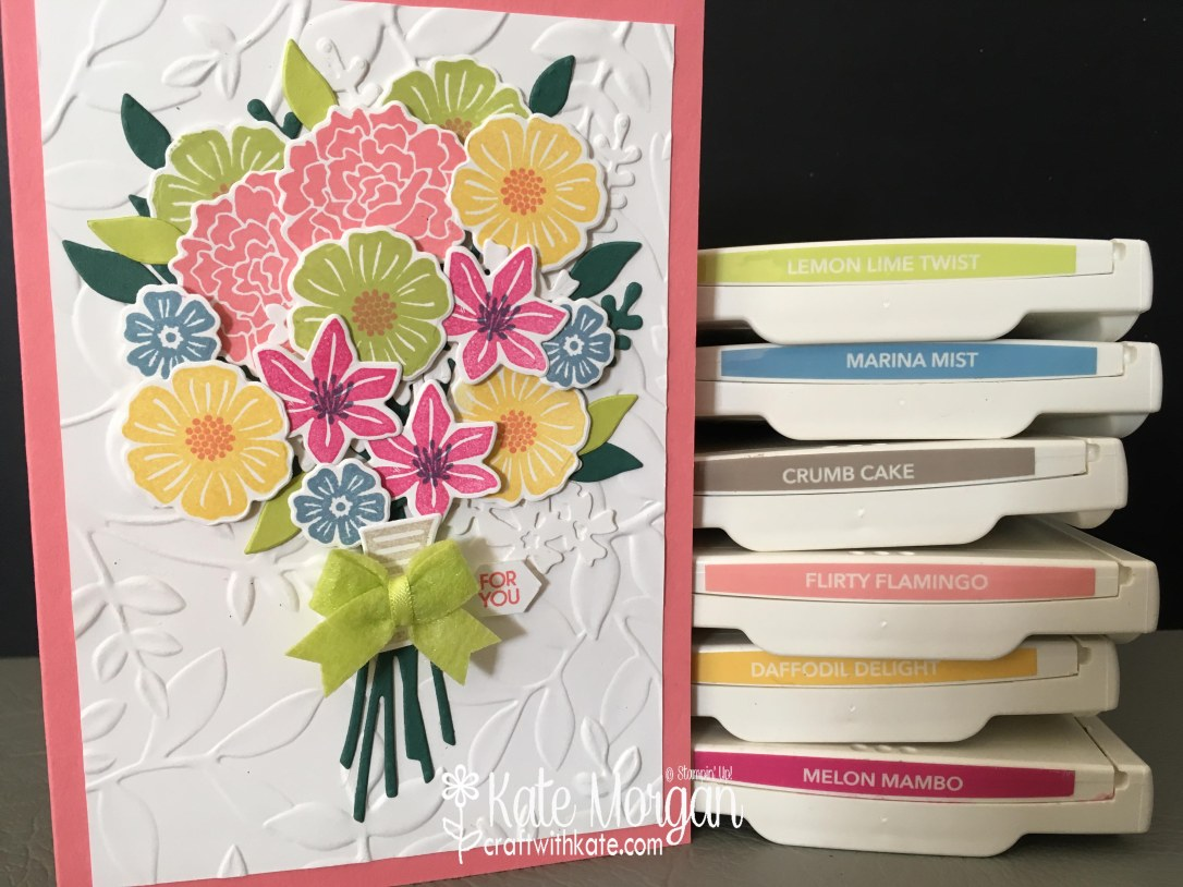 Beautiful Posy card using Beautiful Bouquet Bundle by Kate Morgan, Independent Stampin' Up! Demostrator, Australia 3D colourful