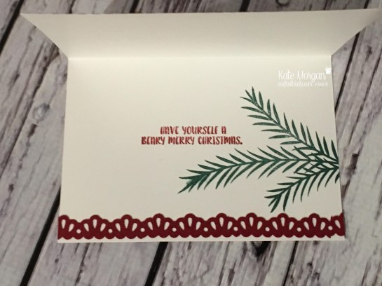 Christmas card using Christmas Pines and Cookie Cutter Christmas by Kate Morgan, Independent Stampin' Up! Demostrator, Australia inside