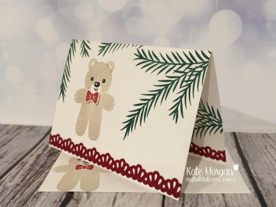 Christmas card using Christmas Pines and Cookie Cutter Christmas by Kate Morgan, Independent Stampin' Up! Demostrator, Australia side