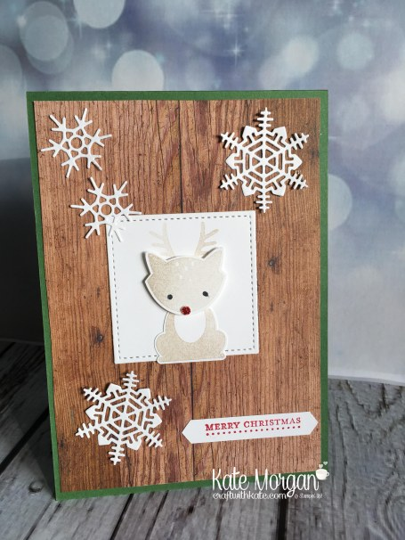 Heart of Christmas Card using Foxy Friends & Seasonal Layers Thinlits by Kate Morgan, Independent Stampin Up Demonstrator, Australia DIY