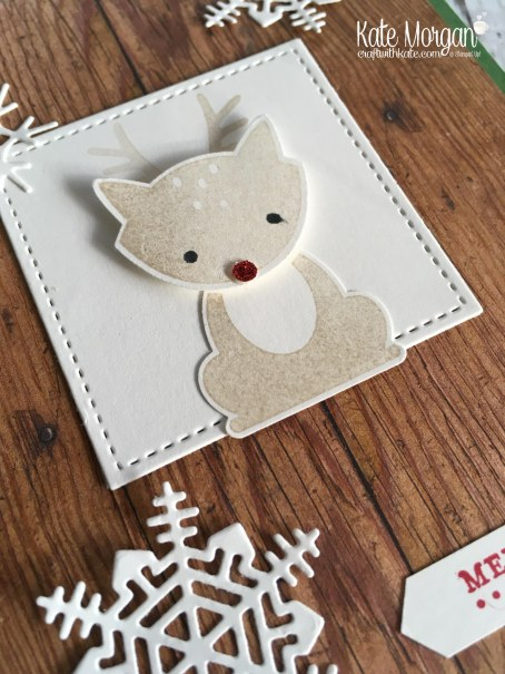 Heart of Christmas Card using Foxy Friends & Seasonal Layers Thinlits by Kate Morgan, Independent Stampin Up Demonstrator, Australia