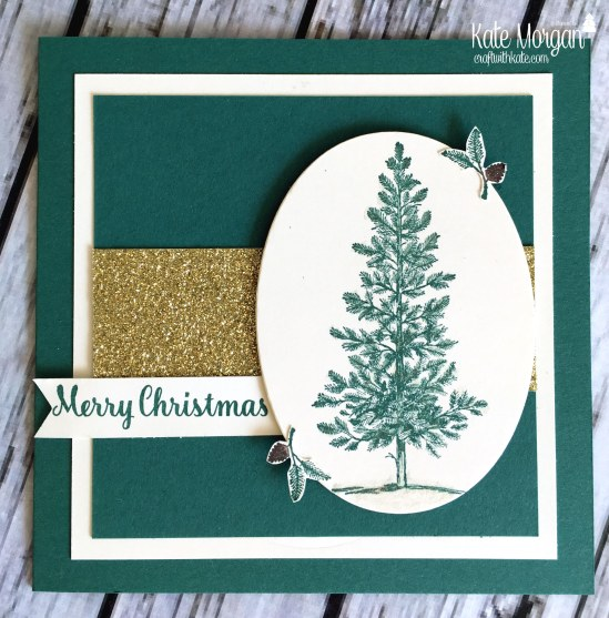 Merry Christmas card using Lovely as a Tree and Star of Light by Kate Morgan, Independent Stampin' Up! Demostrator, Australia