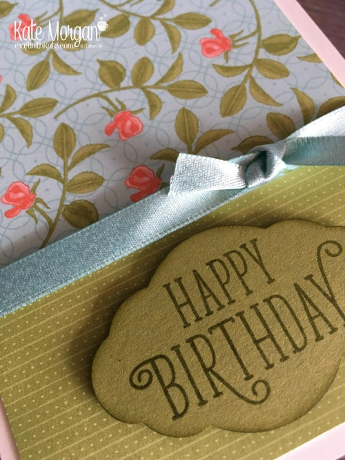 Stampin' Up! Happy Birthday Gorgeous & Petal Garden DSP by Kate Morgan, Independent Demonstrator, Rowville. Feminine, Birthday Card DIY