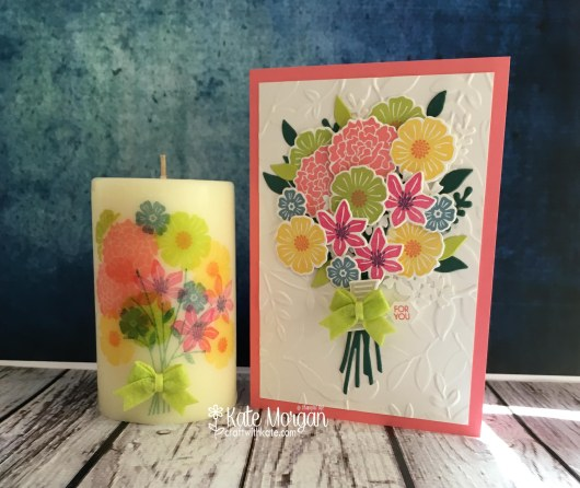 Stamping on candles using Beautiful Bouquet by Kate Morgan, Independent Stampin' Up! Demostrator, Australia