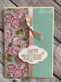 Birthday Card using Stampin Ups Petal Garden DSP, Pretty Label and Happy Birthday Gorgeous by Kate Morgan, Independent Demonstrator Australia 1