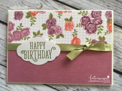Birthday Card using Stampin Ups Petal Garden DSP, Pretty Label and Happy Birthday Gorgeous by Kate Morgan, Independent Demonstrator Australia 10