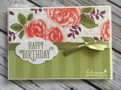 Birthday Card using Stampin Ups Petal Garden DSP, Pretty Label and Happy Birthday Gorgeous by Kate Morgan, Independent Demonstrator Australia 11
