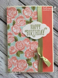 Birthday Card using Stampin Ups Petal Garden DSP, Pretty Label and Happy Birthday Gorgeous by Kate Morgan, Independent Demonstrator Australia 2