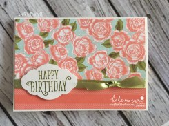 Birthday Card using Stampin Ups Petal Garden DSP, Pretty Label and Happy Birthday Gorgeous by Kate Morgan, Independent Demonstrator Australia 4