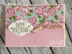Birthday Card using Stampin Ups Petal Garden DSP, Pretty Label and Happy Birthday Gorgeous by Kate Morgan, Independent Demonstrator Australia 5