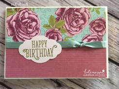 Birthday Card using Stampin Ups Petal Garden DSP, Pretty Label and Happy Birthday Gorgeous by Kate Morgan, Independent Demonstrator Australia 9