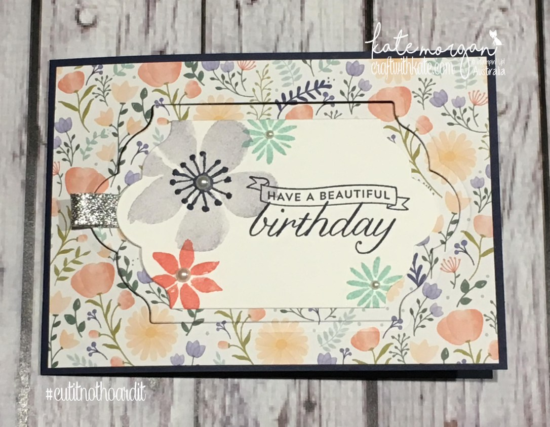 Fancy Fold Card using Stampin' Up! Blooms & Wishes stamp set, Birthday Blossoms stamp set & Delightful Daisy DSP by Kate Morgan, Independent Demonstrator Australia DIY
