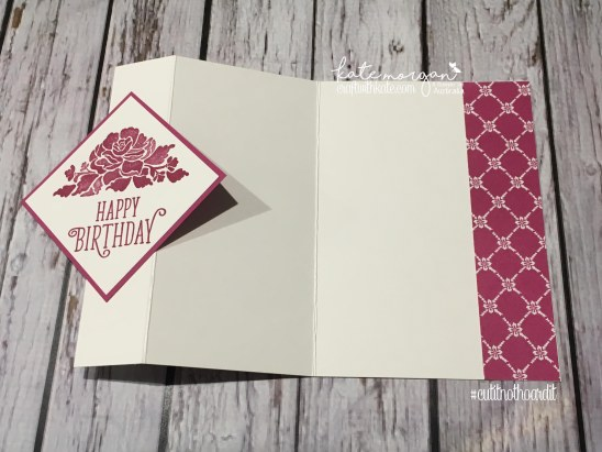 Fancy Fold Card using Stampin Up Floral Phrases, Happy Birthday Gorgeous & Fresh Florals DSP by Kate Morgan, Independent Demonstrator Australia
