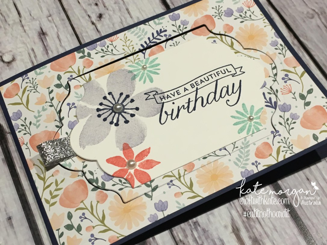 Fancy Fold Card using Stampin' Up!s Blooms & Wishes stamp set, Birthday Blossoms stamp set & Delightful Daisy DSP by Kate Morgan, Independent Demonstrator Australia