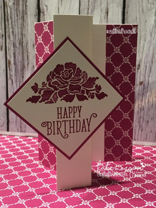 Fancy Fold Card using Stampin Ups Floral Phrases, Happy Birthday Gorgeous & Fresh Florals DSP by Kate Morgan, Independent Demonstrator Australia