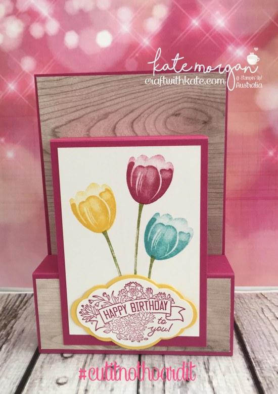 Fancy Fold Card using Stampin Ups Tranquil Tulips, Pretty Label Bundle & Wood Grain DSP by Kate Morgan, Independent Demonstrator Australia 3D