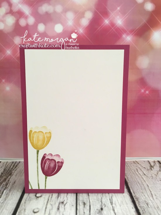 Fancy Fold Card using Stampin Ups Tranquil Tulips, Pretty Label Bundle & Wood Grain DSP by Kate Morgan, Independent Demonstrator Australia DIY