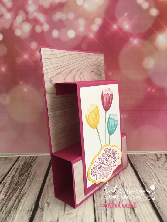 Fancy Fold Card using Stampin Ups Tranquil Tulips, Pretty Label Bundle & Wood Grain DSP by Kate Morgan, Independent Demonstrator Australia