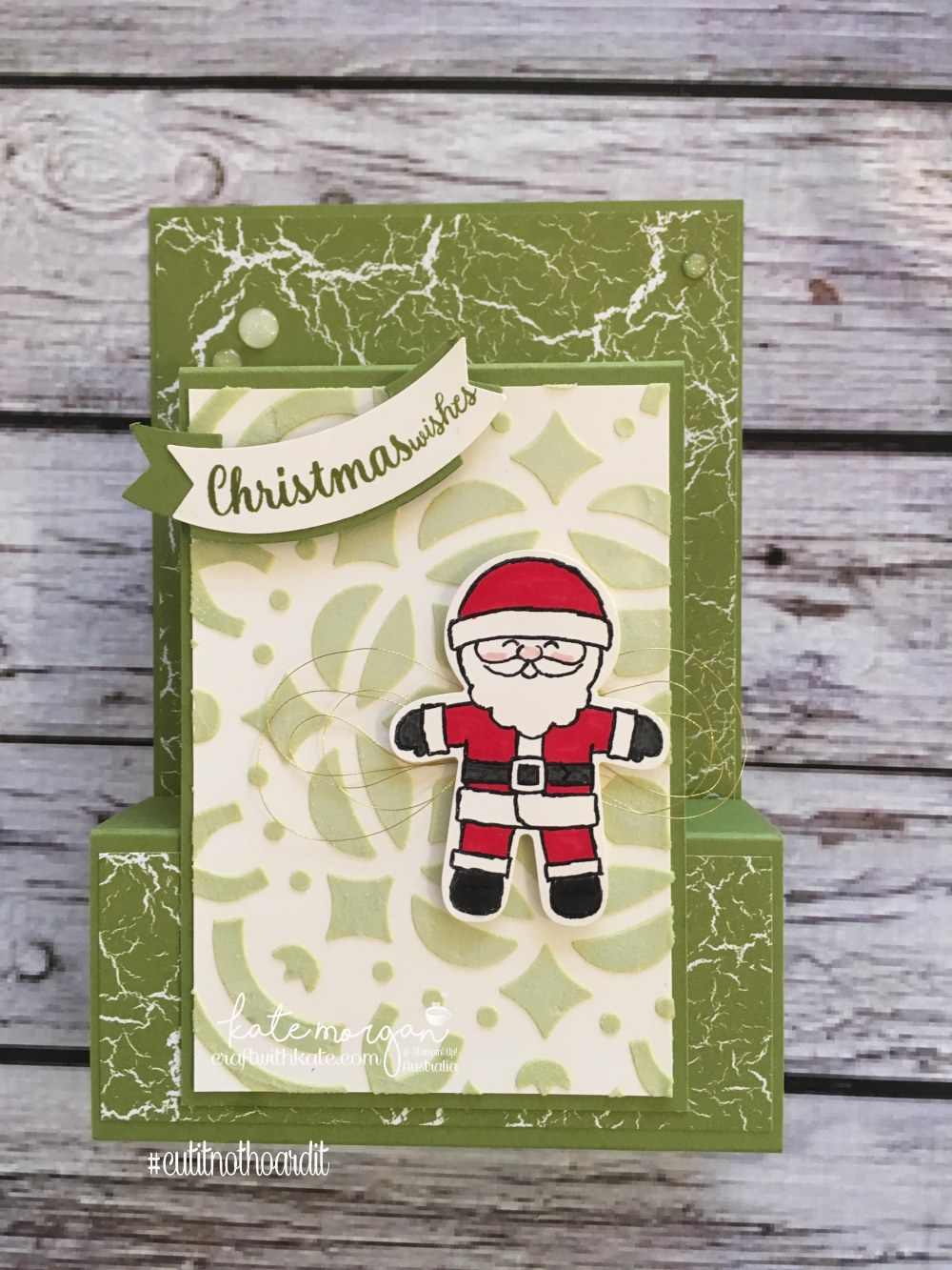 Fancy Fold Heart of Christmas card using Stampin Ups Cookie Cutter Christmas & Embossing Paste by Kate Morgan, Independent Demonstrator, Australia DIY.JPG