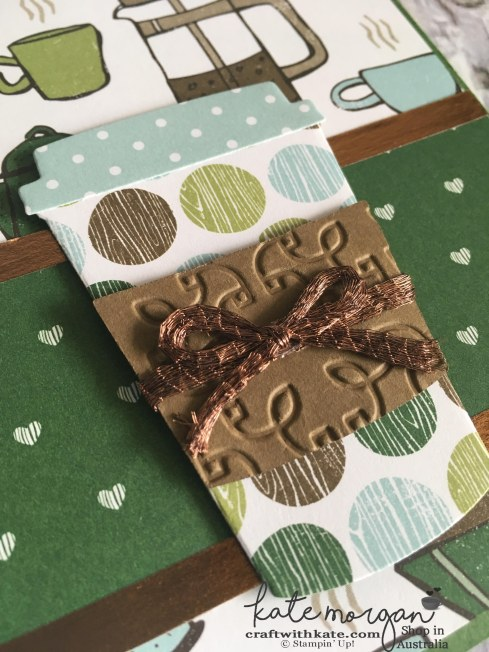 Handmade Card using Stampin Ups Coffee Cafe by Craft with Kate Independent Demonstrator Australia 2017 closeup