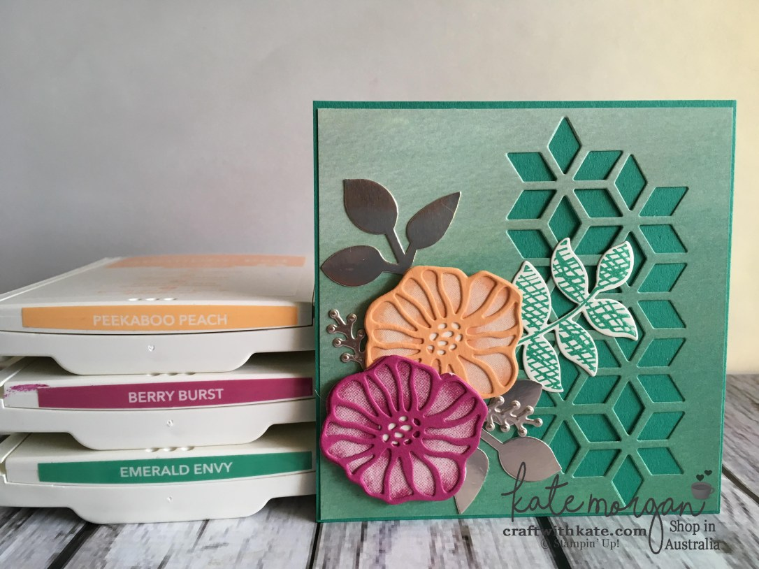 Handmade Feminine card using Stampin Up Oh So Eclectic by Kate Morgan, Independent Demonstrator, Australia DIY