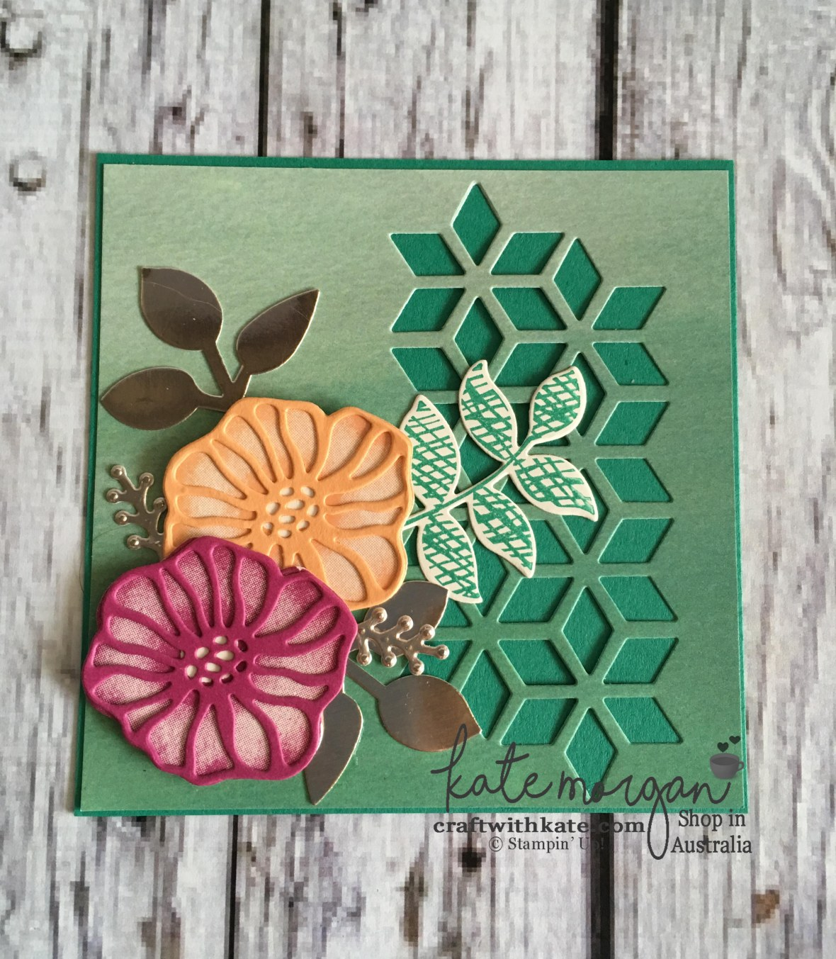 Handmade Feminine card using Stampin Up Oh So Eclectic by Kate Morgan, Independent Demonstrator, Australia.