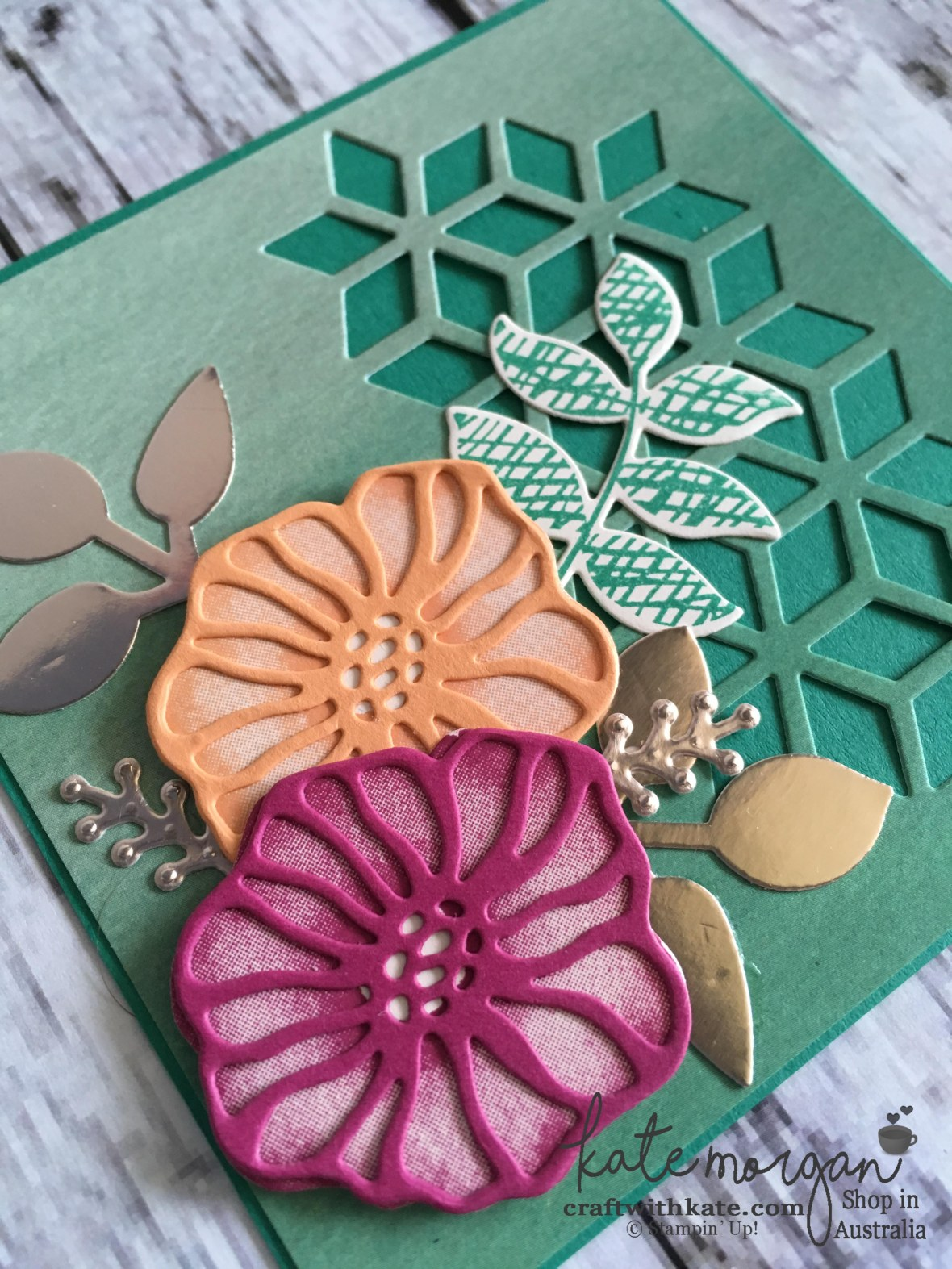 Handmade Feminine card using Stampin Up Oh So Eclectic by Kate Morgan, Independent Demonstrator, Australia