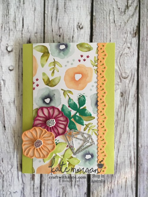 Handmade Feminine card using Stampin Ups Oh So Eclectic by Kate Morgan, Independent Demonstrator, Australia DIY