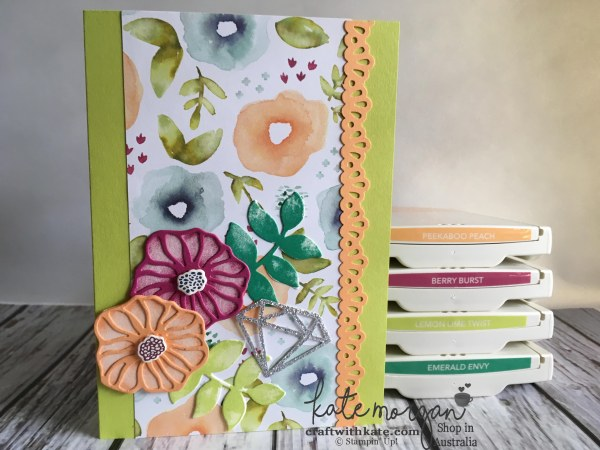 Handmade Feminine card using Stampin Ups Oh So Eclectic by Kate Morgan, Independent Demonstrator, Australia