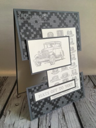 Masculine Card for Father's Day, Hats off to you using Stampin Ups Guy Greetings by Kate Morgan, Independent Demonstrator Australia. Craft with Kate #cutitnothoardit angle