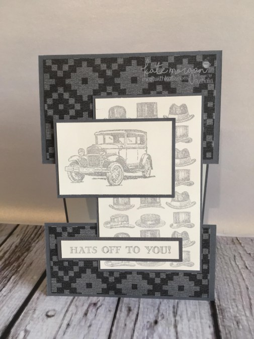 Masculine Card for Father's Day, Hats off to you using Stampin Ups Guy Greetings by Kate Morgan, Independent Demonstrator Australia. Craft with Kate #cutitnothoardit