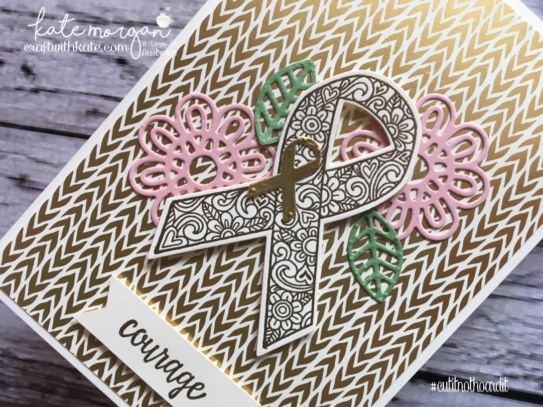 Ribbon of Courage meets Bundle of Love by Kate Morgan, Independent Stampin Up Demonstrator Australia #cutitnothoardit #cancer Handmade card DIY
