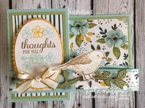 FREE Tutorial for Double Z Fold using Whole Lot of Lovely DSP & Best Birds stamp set by Kate Morgan, Independent Demostrator, Australia. #Stampinup #makeacardsendacard Fancy Folds closed