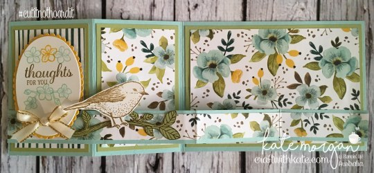 FREE Tutorial for Double Z Fold using Whole Lot of Lovely DSP & Best Birds stamp set by Kate Morgan, Independent Demostrator, Australia. #Stampinup #makeacardsendacard Fancy Folds open