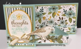 FREE Tutorial for Double Z Fold using Whole Lot of Lovely DSP & Best Birds stamp set by Kate Morgan, Independent Demostrator, Australia. #Stampinup #makeacardsendacard Fancy Folds standi