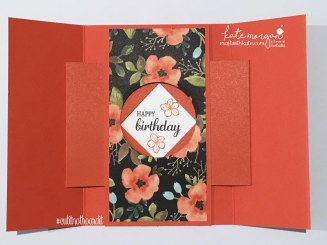 Free Tutorial on my blog for this A5 Gatefold Shutter Card in Australian measurements, by Kate Morgan, Independent Demonstrator. Fancy Fold card using Whole Lot of Lovely DSP #stampinup