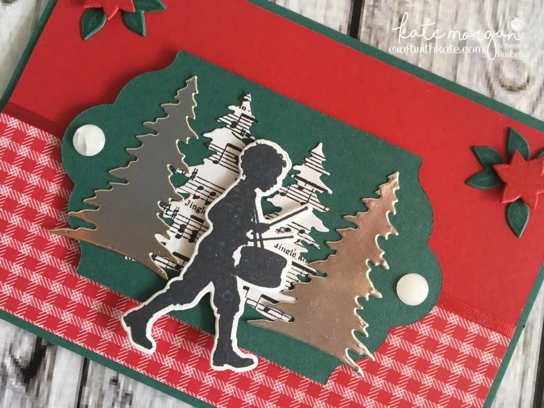 Handmade Christmas Card using Stampin Ups Musical Season, Carols of Christmas, Merry Music DSP, Quilted Christmas DSP by Craft with Kate, Independent Demonstrator Australia 2017 Closeup