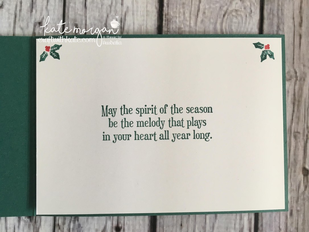 Handmade Christmas Card using Stampin Ups Musical Season, Carols of Christmas, Merry Music DSP, Quilted Christmas DSP by Craft with Kate, Independent Demonstrator Australia 2017 inside