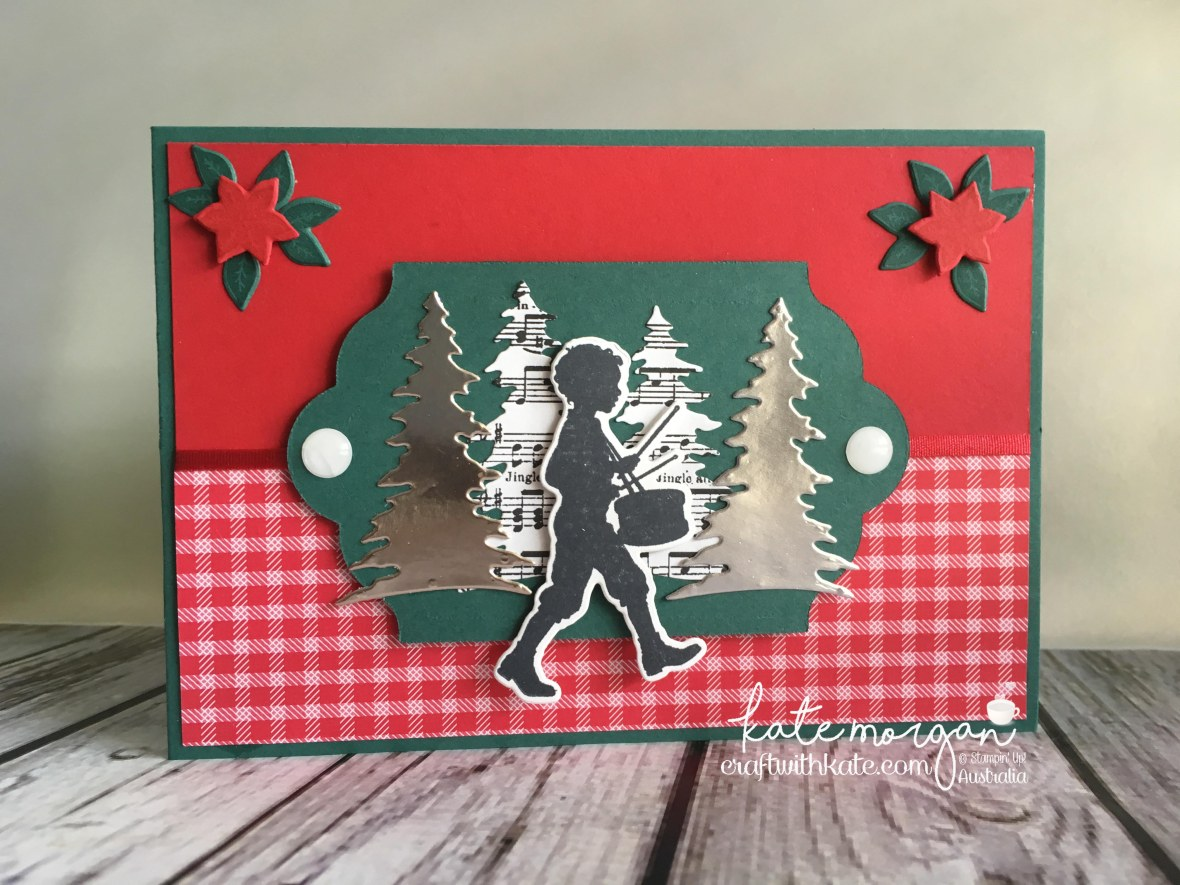 Handmade Christmas Card using Stampin Ups Musical Season, Carols of Christmas, Merry Music DSP, Quilted Christmas DSP by Craft with Kate, Independent Demonstrator Australia 2017 Little Drummer Boy.jpg