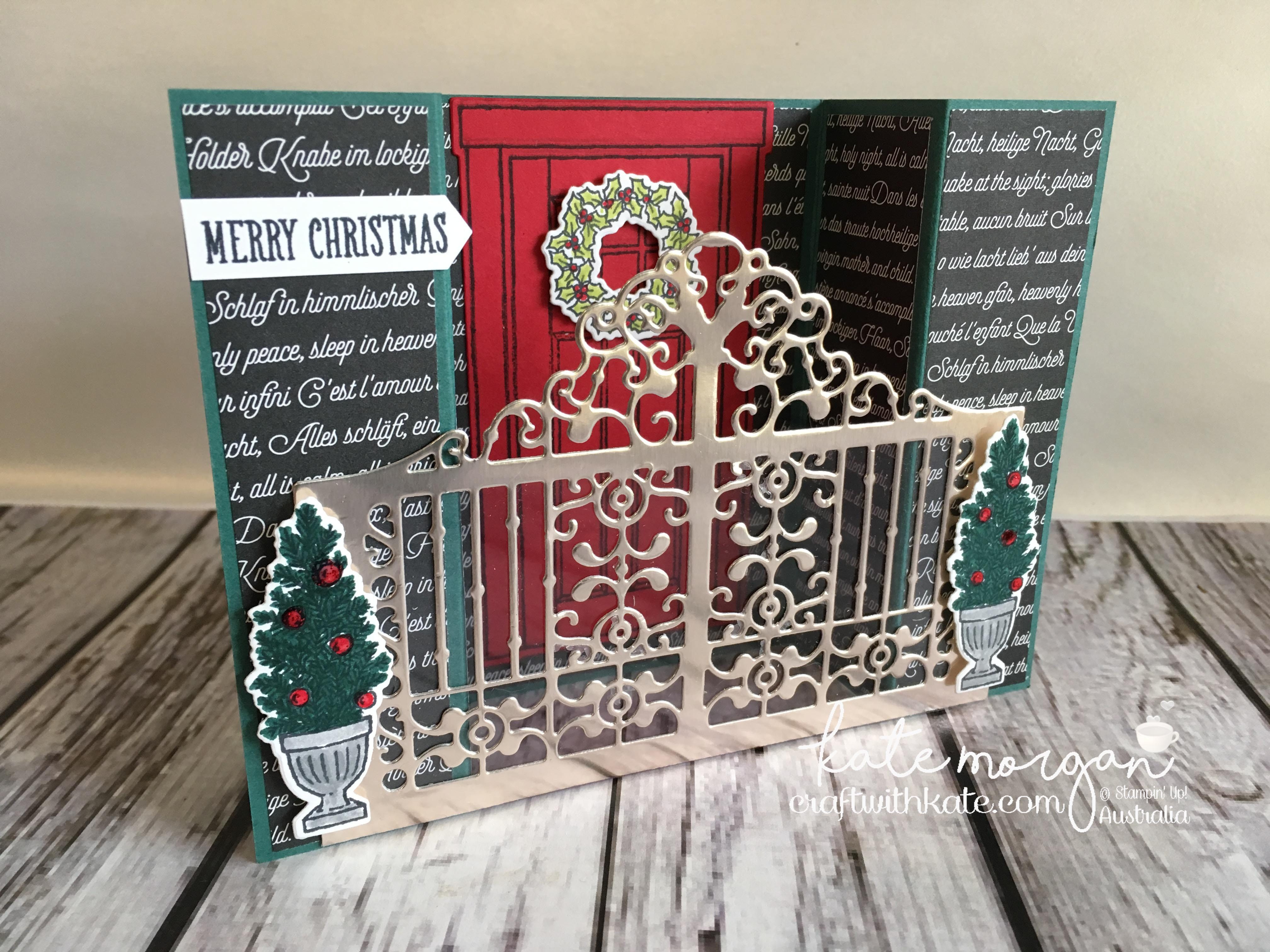 Heart of Christmas Inspiration Bridge Fold card with TUTORIAL using Stampin Up At Home with You & Detailed Gate thinlits die by Kate Morgan, Independent Demonstrator, Australia. #cutitnothoardit #stampinup.JPG