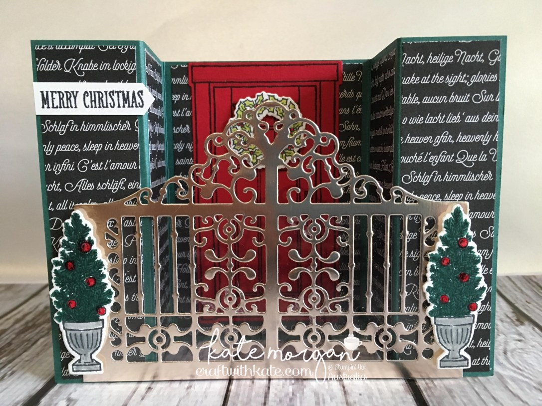 Heart of Christmas Inspiration Bridge Fold card with TUTORIAL using Stampin Up At Home with You & Detailed Gate thinlits die by Kate Morgan, Independent Demonstrator, Australia. DIY #cutitnothoardit #stampinup.JPG