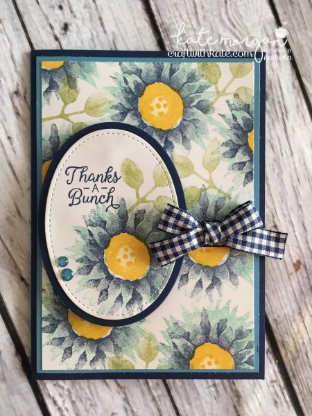 Thanks a bunch card using Stampin Up Painted Harvest, by Kate Morgan, Independent Demonstrator, Australia. #makeacardsendacard Blues