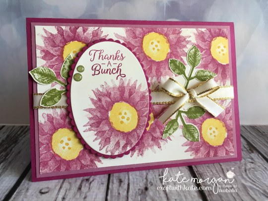Thanks a bunch card using Stampin Up Painted Harvest, by Kate Morgan, Independent Demonstrator, Australia. #makeacardsendacard pinks