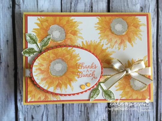 Thanks a bunch card using Stampin Up Painted Harvest, by Kate Morgan, Independent Demonstrator, Australia. #makeacardsendacard yellows