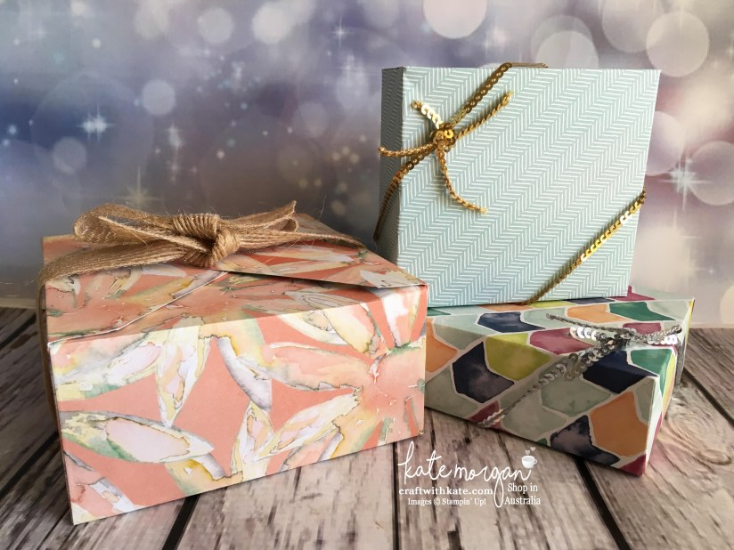 3D boxes using Stampin Up Envelope Punch Board & DSP by Kate Morgan, Independent Demonstrator, Australia