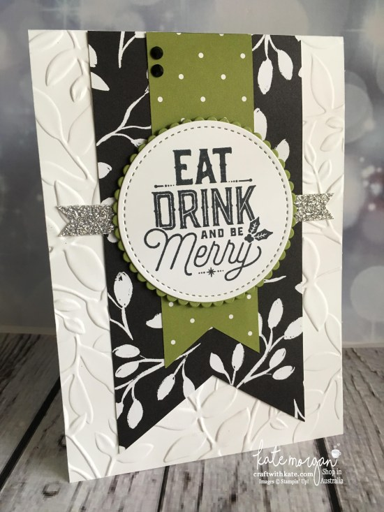 Carols of Christmas card using Stampin Ups Merry Little Christmas DSP & Layered Leaves DTIEF by Kate Morgan, Independent Demonstrator Australia