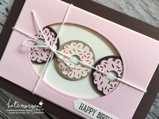 Donut birthday card using Stampin Ups Layering Ovals Framelits, Sweet Cupcake stamps & punches by Kate Morgan, Independent Demonstrator Australia 2017 DIY