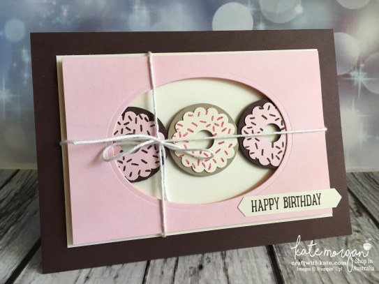 Donut birthday card using Stampin Ups Layering Ovals Framelits, Sweet Cupcake stamps & punches by Kate Morgan, Independent Demonstrator Australia 2017.JPG