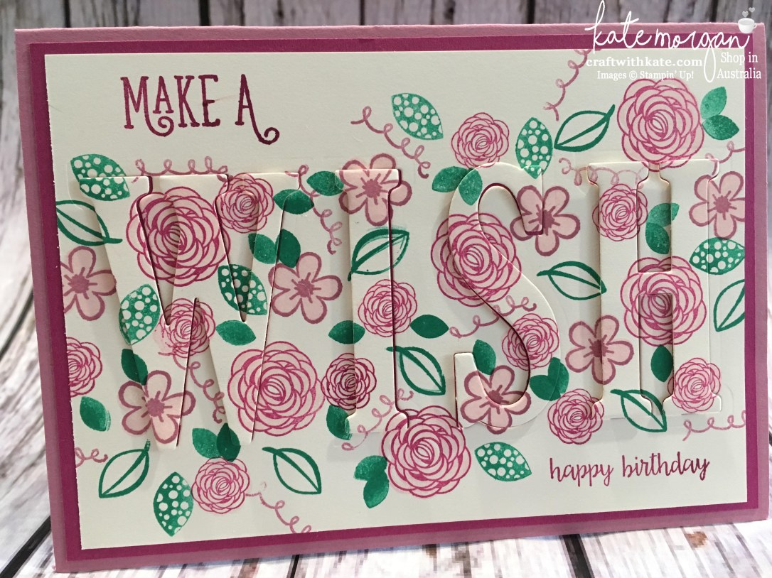 Eclipse card using Stampin Ups Large Letters dies & Happy Birthday Gorgeous stamp set by Kate Morgan, Independent Demonstrator Australia 2017 DIY